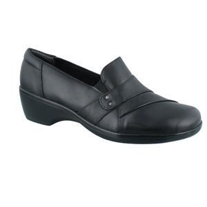 Clarks May Marigold black leather slip on shoes 8